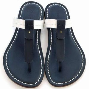 NEW Bernard Mercer leather thong navy/white sandal